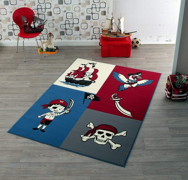 Design Velours Kinderteppich Piraten 140 x 200 cm